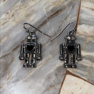 Cute Robot Small Earrings Silver Movable Arms